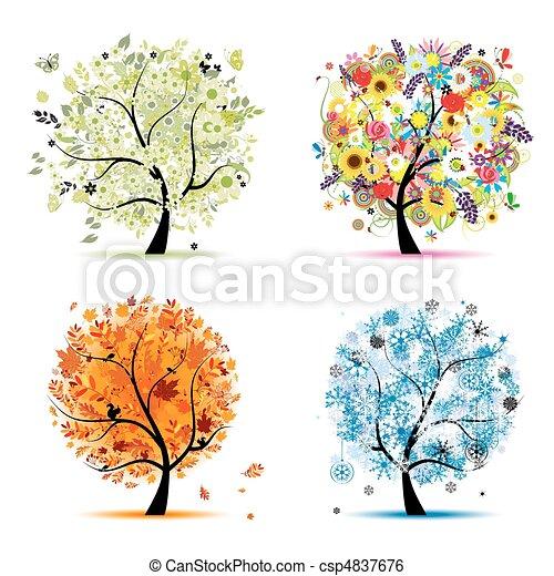 Vier Jahreszeiten - Frühling, Sommer, Herbst, Winter. Der Kunstbaum ist schön für dein Design - csp4837676