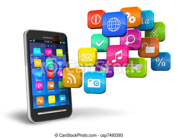 Smartphone mit einer Wolke von Bewerbungs-Ikonen - csp7493393