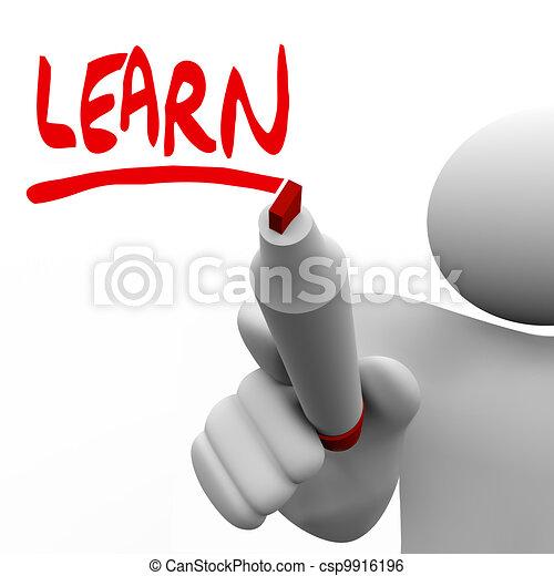 wort, geschrieben, lernen, markierung, unterricht, mann - csp9916196