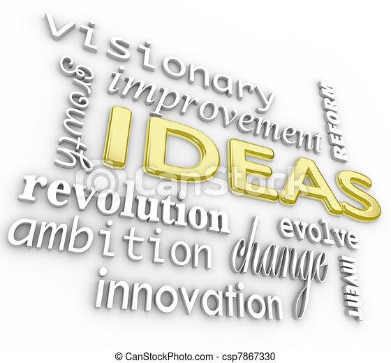 Ideen im Hintergrund - Innovationsvision 3D-Wort - csp7867330