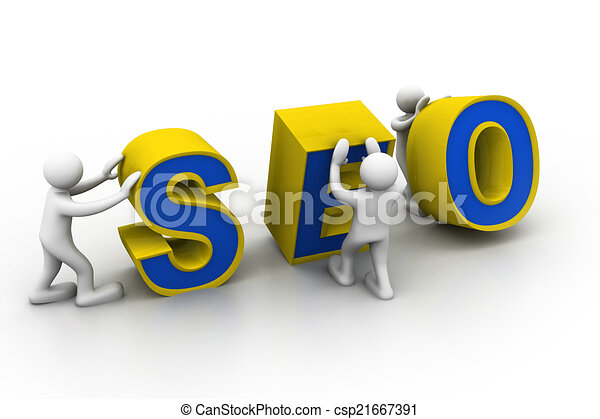 """3D Menschen und Wort """"Seo"""". - csp21667391"""