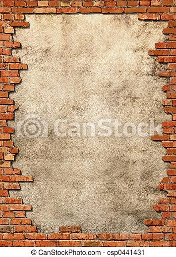 Ziegelsteinmauer Grungerahmen - csp0441431