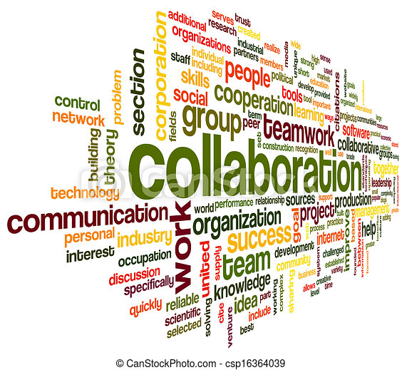 Kollaboration in Wort Tag Cloud - csp16364039